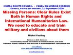 Presentation by Professor Veuthey at the Human Rights Council on Missing Persons