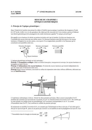 Cours d'optique géométrique 1ère année