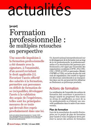 Formation Professionnelle : De multiples retouches en perspective
