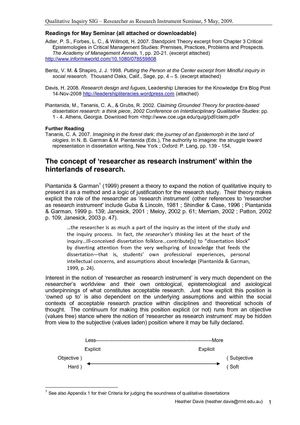 Researcher as research instrument discussion paper