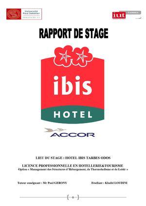 Exemple rapport de stage bts hotellerie restauration pdf  PDF EXEMPLE RAPPORT