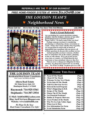 The Louison Team's Neighborhood News - What's Happening In Huntington Beach - July 2009