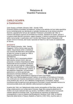 Calam o relazione su analisi museo di castelvecchio di for Carlo scarpa biografia