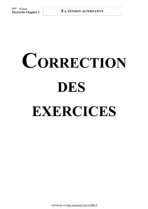 La tension alternative (Correction des exercices - Version 2009)