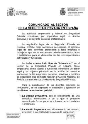 Calam o comunicado a la seguridad privada for Comunicado ministerio del interior