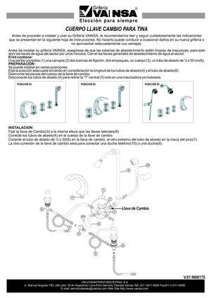 Calam o vainsa cuerpo llave cambio para tina in00175 for Griferia para tina