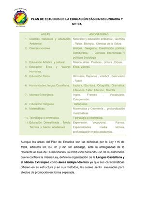 Plan de Estudios Básica Secundaria y Media