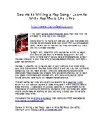 Secrets to Writing a Rap Song - Learn to Write Rap Music Like a Pro