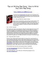 Tips on Writing Rap Song - How to Write Your Own Rap Song