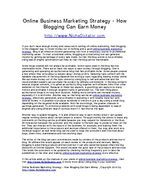 Online Business Marketing Strategy - How Blogging Can Earn Money