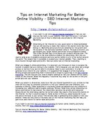 Tips on Internet Marketing For Better Online Visibility - SEO Internet Marketing Tips