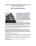 Marketing & Advertising Media for Apartment & Multifamily Properties