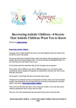 Recovering Autistic Children - 4 Secrets That Autistic Children Want You to Know