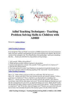 Adhd Teaching Techniques - Teaching Problem Solving Skills to Children with ADHD