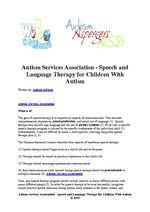 Autism Services Association - Speech and Language Therapy for Children With Autism