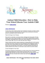 Autism Child Education - How to Help Your School Educate Your Autistic Child