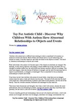 Toy For Autistic Child - Discover Why Children With Autism Have Abnormal Relationships to Objects and Events