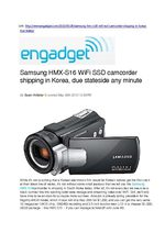 Samsung WiFi SSD camcorder shipping in Korea by Engadget