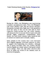 Faster Growing Industry in the Country: Philippine Call Center