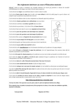 Calam o r glement int rieur cours education musicale for Interieur cours
