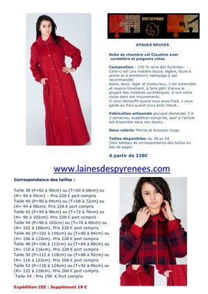 Calam o robe de chambre en laine des pyr n es pour femme - Robe de chambre en laine des pyrenees pour homme ...