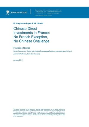 Chinese direct investments in France: no French exception, no Chinese challenge