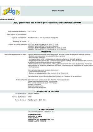 Calam o offres d 39 emploi fpt var - Grille adjoint administratif 1ere classe ...