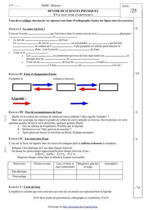 physique chimie 6eme evaluation