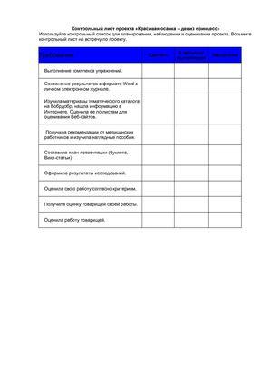 Контрольный лист проекта Контрольный лист проекта