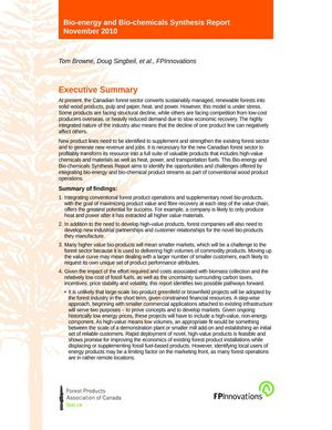 Bio-energy and Bio-chemicals Synthesis Report - Executive summary