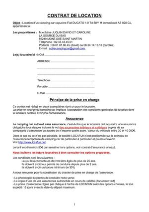 Contrat Type Location De Camping Car
