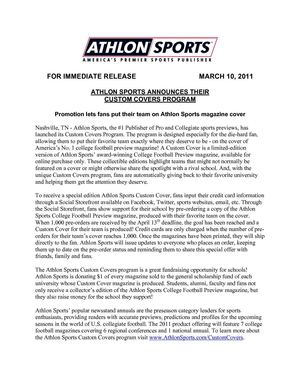 Athlon Sports Custom Cover Press Release