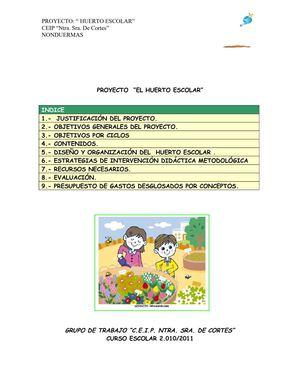 Calam o proyecto huerto escolar ecol gico for Proyecto para una cantina escolar