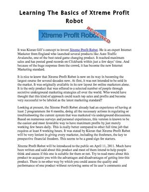 Discover The Basics Of Xtreme Profit Robot