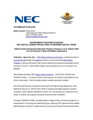 NEC DIGITAL CINEMA PROJECTORS TO MAXIMIZE DIGITAL TREND