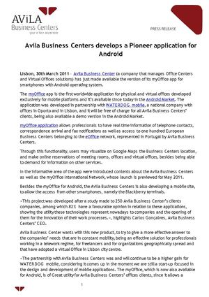 Avila Business Centers develops a Pioneer application for Android