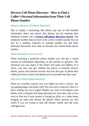 Reverse Cell Phone Directory - How To Find A Caller's Personal Information From Their Cell Phone Number