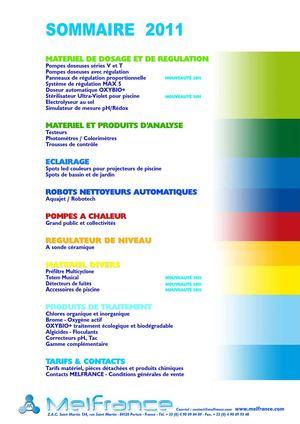 Calam o catalogue melfrance 2011 for Dosage sel piscine
