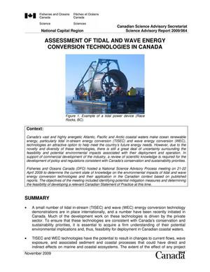 TIDAL AND WAVE ENERGY CONVERSION TECHNOLOGIES IN CANADA