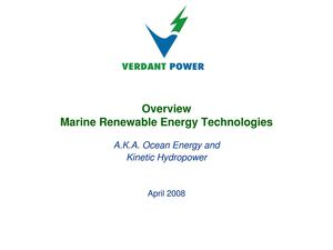 Verdant Power - Marine Renewable Energy Technologies