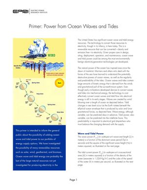 Primer: Power from Ocean Waves and Tides