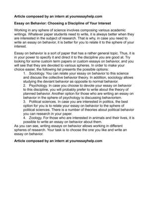 Essay about discipline