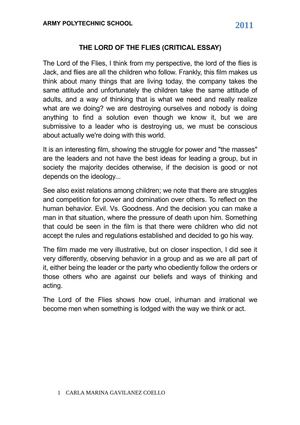 calam atilde copy o the lord of the flies critical essay the lord of the flies critical essay