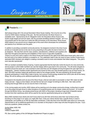 ASID April 2011 Newsletter