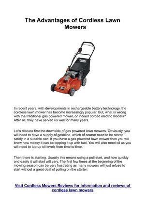 The Advantages of Cordless Lawn Mowers