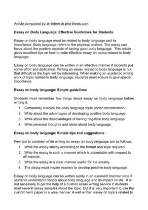 body language 2 essay To get an idea about the art of body language we must watch for some things like (1) body posture when you speak, are you slouching or turned away from your child.