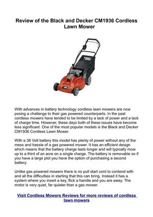 Review of the Black and Decker CM1936 Cordless Lawn Mower