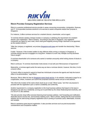 Rikvin Provides Company Registration Services