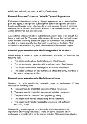 essay writing tips to research paper euthanasia pro euthanasia essays