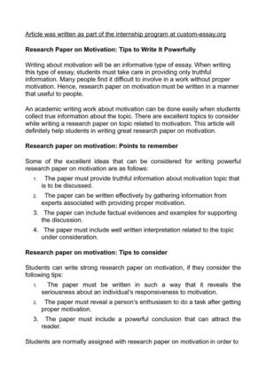 find a research paper for what is motivation In past research papers few dimensions of motivation were used to explain the  different models motivation theory which has direct influence on.